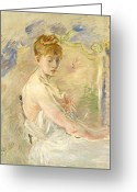 Blonde Girl Greeting Cards - Young Girl Getting Up Greeting Card by Berthe Morisot