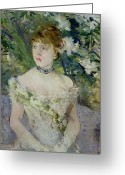 Evening Dress Greeting Cards - Young girl in a ball gown Greeting Card by Berthe Morisot