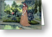 Rose Bushes Greeting Cards - Young girl in a garden  Greeting Card by Eugene Grasset
