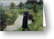 Woman In Pool Greeting Cards - Young Girl in the Fields Greeting Card by Evariste Carpentier