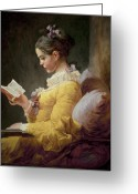 Seated Greeting Cards - Young Girl Reading Greeting Card by JeanHonore Fragonard