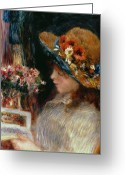 Floral Blouse Greeting Cards - Young Girl Reading Greeting Card by Pierre Auguste Renoir