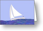 Happy Texas Artist Greeting Cards - Young Girl Sailing Greeting Card by Fred Jinkins