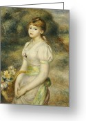 Pierre Renoir Greeting Cards - Young Girl with a Basket of Flowers Greeting Card by Pierre Auguste Renoir