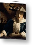 Femme Painting Greeting Cards - Young Girl with a Flute Greeting Card by Jan Vermeer