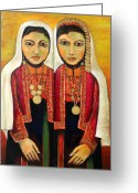 Middle East Greeting Cards - Young Girls in Traditional Palestinian Dress Greeting Card by Munir Alawi