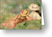 Berges Greeting Cards - Young Girls on the River Bank Greeting Card by Pierre Auguste Renoir