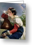 Pitcher Painting Greeting Cards - Young Italian at the Well Greeting Card by Franz Xaver Winterhalter
