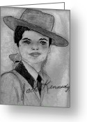 First Lady Mixed Media Greeting Cards - Young Jackie Kennedy Greeting Card by Sonya Chalmers