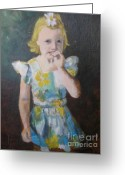 Flowered Dress Greeting Cards - Young Kelly Greeting Card by Brian McCoy