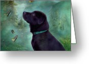 Canine Art Greeting Cards - Young Lab And Buttys Greeting Card by Carol Cavalaris
