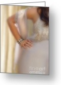 Hand On Hip Greeting Cards - Young Lady in Satin Gown with Hand on Hip Greeting Card by Jill Battaglia