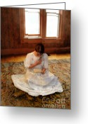 Love Letter Greeting Cards - Young Lady in White Gown Reading Letter Greeting Card by Jill Battaglia