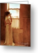 Young Teen Greeting Cards - Young Lady Looking Out Window with Binoculars Greeting Card by Jill Battaglia
