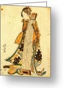 Hair Ornaments Greeting Cards - Young Maiden with Koto 1800 Greeting Card by Padre Art