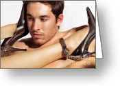 Young Man Greeting Cards - Young Man Face and Woman Legs Greeting Card by Oleksiy Maksymenko