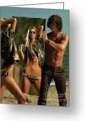 Sun Tan Greeting Cards - Young Man Holding a Mirror for a Woman Greeting Card by Oleksiy Maksymenko
