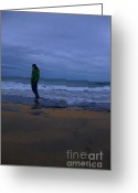 Introvert Greeting Cards - Young man on the beach at dusk Greeting Card by Kathleen Smith