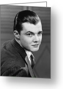 Young Men Greeting Cards - Young Man Wearing Pinstripe Jacket, (b&w), Portrait Greeting Card by George Marks