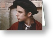 Color Image Painting Greeting Cards - Young man with a black hat Greeting Card by Dominique Amendola
