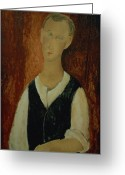 Modigliani Painting Greeting Cards - Young Man with a Black Waistcoat Greeting Card by Amedeo Modigliani