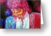 Rock  Painting Greeting Cards - Young Michael Jackson Greeting Card by David Lloyd Glover