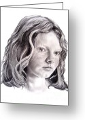 Pencil Drawing Drawings Greeting Cards - Young Mona Lisa Greeting Card by Murphy Elliott