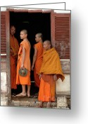 Alms Greeting Cards - Young Monks Laos 2 Greeting Card by Bob Christopher