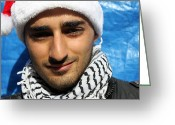 Christmas Greeting Cards - Young Palestinian Man Greeting Card by Munir Alawi
