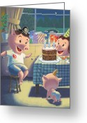 Boy Room Art Greeting Cards - Young Pig Birthday Party Greeting Card by Martin Davey
