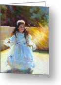 Backlit Painting Greeting Cards - Young Queen Esther Greeting Card by Talya Johnson