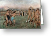 Adolescents Greeting Cards - Young Spartans Exercising Greeting Card by Edgar Degas