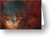 Interstellar Clouds Photo Greeting Cards - Young Star-forming Complex Ngc 7822 Greeting Card by Rolf Geissinger