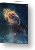 Science Fiction Tapestries Textiles Greeting Cards - Young Stars Flare In The Carina Nebula Greeting Card by Nasa/Esa