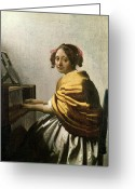 Vermeer Greeting Cards - Young Woman at a Virginal Greeting Card by Jan Vermeer