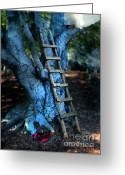 Red Shoes Greeting Cards - Young Woman Climbing a Tree Greeting Card by Jill Battaglia
