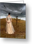 Stormy Skies Greeting Cards - Young Woman Grieving by Grave Greeting Card by Jill Battaglia