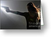 Hand On Hip Greeting Cards - Young woman holding gun Greeting Card by Sami Sarkis