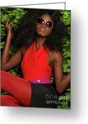 Hair-style Greeting Cards - Young Woman in Bright Red Clothes Greeting Card by Oleksiy Maksymenko