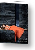 Long Dress Greeting Cards - Young Woman in Long Orange Dress Greeting Card by Oleksiy Maksymenko