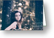 Brown Hair Greeting Cards - Young woman in the forest Greeting Card by Gabriela Insuratelu
