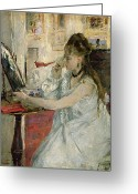 Femme Painting Greeting Cards - Young Woman Powdering her Face Greeting Card by Berthe Morisot