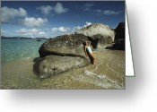 Atlantic Beaches Greeting Cards - Young Woman Resting Against A Rock Greeting Card by Bill Curtsinger