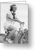 18-19 Years Greeting Cards - Young Woman Riding Bicycle, (b&w), Low Angle View Greeting Card by George Marks