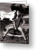 Sexiness Greeting Cards - Young Woman Sitting on a Crashed Car Greeting Card by Oleksiy Maksymenko