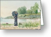 Winslow Homer Greeting Cards - Young Woman Greeting Card by Winslow Homer