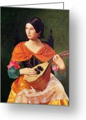 Pensive Greeting Cards - Young Woman with a Mandolin Greeting Card by Vekoslav Karas
