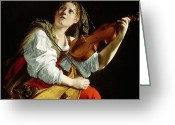 Martyr Greeting Cards - Young Woman with a Violin Greeting Card by Orazio Gentileschi
