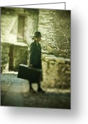Suitcase Greeting Cards - Young Woman With Suitcase Greeting Card by Joana Kruse