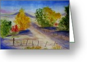 Open Road Painting Greeting Cards - Youngs Farm Greeting Card by Jamie Frier